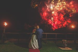 Wedding couple with fireworks