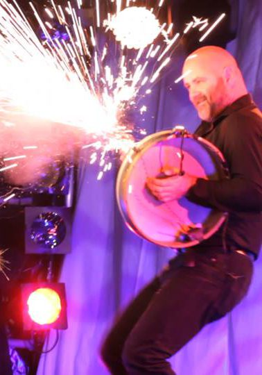 Pyrotechnic robotic on Bodhrán