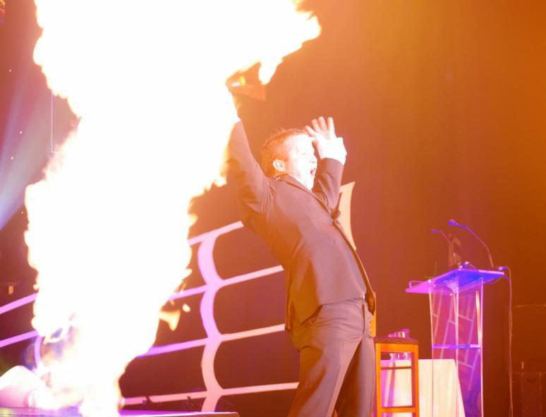 Flame generators at an awards show
