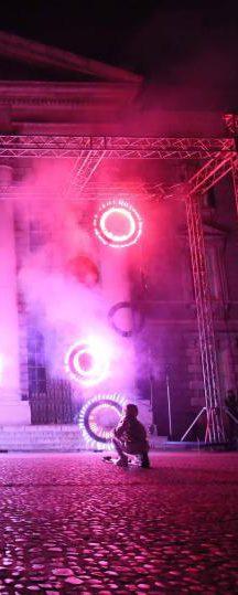 Firework lancework at Trinity College Dublin