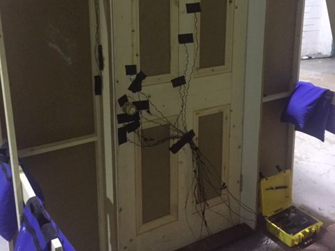 Door rigged with pyrotechnics