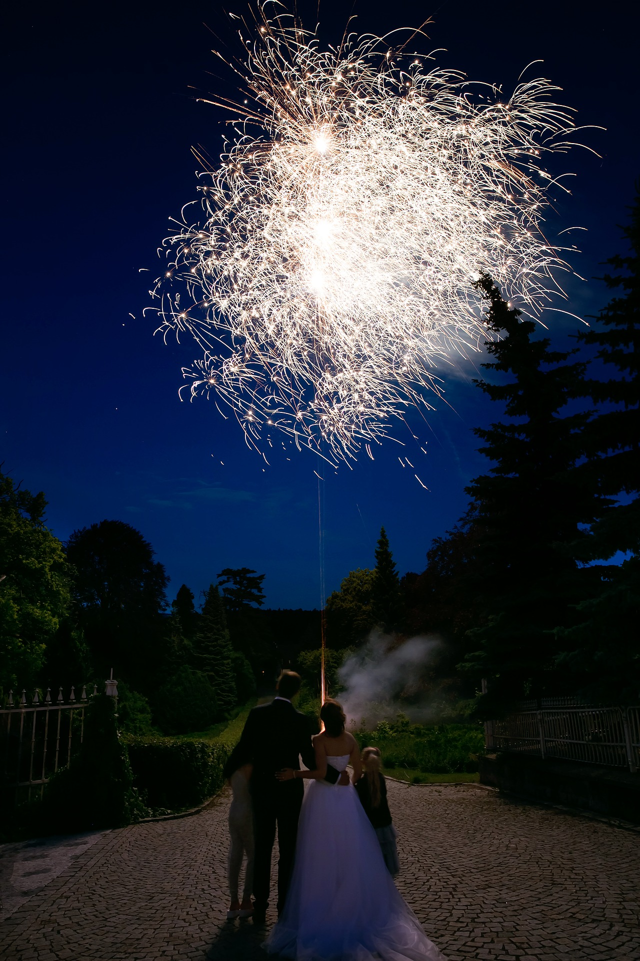 Wedding couple with children watching fireworks